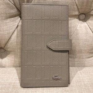 Lacoste gray/beige cash card checkbook wallet
